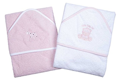 a-set-of-two-beautiful-baby-bath-towels-100-cotton-in-pink-or-blue-with-cute-animal-appliques-pink