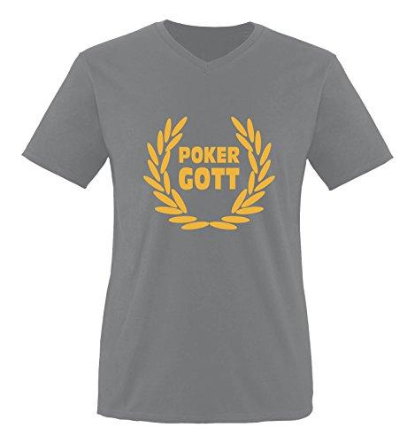 Comedy Shirts - Poker Gott - Herren V-Neck T-Shirt - Dunkelgrau / Gelb Gr. XXL