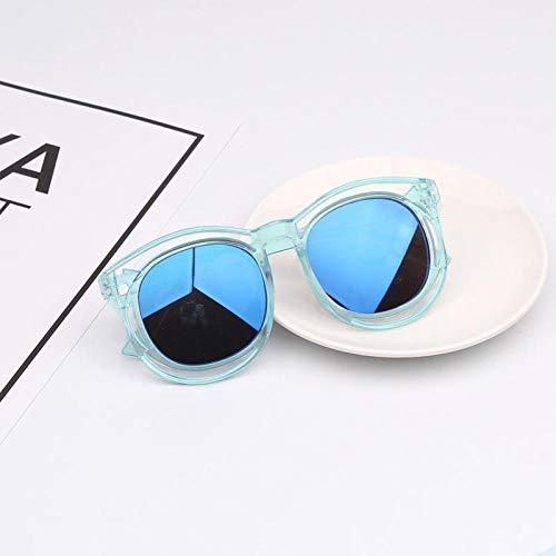 2-9 Jahre alt Kinder Brillen Sonnenbrillen Jungen und Mädchen Sonnenbrillen Anti-UV-Brillen Baby-Sonnenbrillen Flut Pulver Rahmen lila, transparenten Rahmen eisblau Linse _ Paket 1 Brillenbeutel + Br