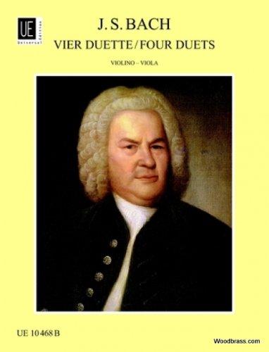 Partitions clásico Universal Edition Bach J.S.–4Duette nach BWV 802–805–Violín y Viola violín