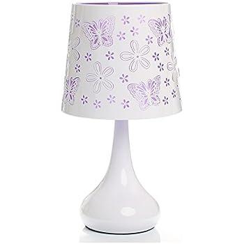 Lampe touch métal blanc motif papillon violet