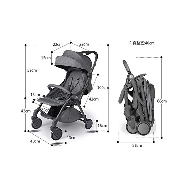 Pushchair 2 In 1 Baby Stroller Travel System,Baby Trolley Newborn Baby Carriage Foldable Can Sit And Lie Down Damping Baby Cart For 1 Month -5 Years Old Ydq TRAVEL ANYWHERE - Airplane travel stroller designed for airplane overhead compartment. It's super compact when folded. With extendable pull rod, it could be dragged anywhere you go with no effort instead of lifting it with your hand. COMFORTABLE SEAT - Lightweight pushchair with reclining backrest enables your baby to rest better in the well-padded seat. The pads on the headrest will help keep your baby's head in position even if it's asleep. The angle of legs support could also be adjusted, providing the most joyful ride for your baby. EASY USAGE - One-hand foldable buggy makes taking your baby for travels or walks a simple pleasure. It could stand on its own so you could take care of your baby with less things to worry about. 5