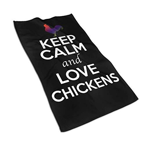 VLOOQ-HX Keep Calm and Love Chickens Toallas de Mano de Fibra extrafina...
