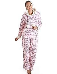Camille - Pijama con capucha para mujer - Forro polar - Rosa y blanco