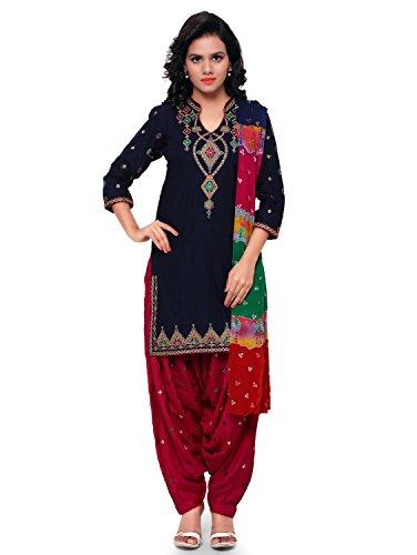 KVSFAB Women\'s Cotton Patiala Salwar Suit (Unstitched Dress Material, Blue & Pink)[KVSSK7857PA_44]