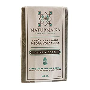 Jabón Natural EXFOLIANTE Piedra volcánica. Artesano con Aceites de Coco y Oliva de Calidad Alimentaria. Libre de Aceite…