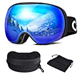 Oladwolf Skibrille, Herren und Damen Brillenträger Ski Snowboard Brille, Doppel-Objektiv Verspiegelt Skibrillen, OTG UV-Schutz Anti-Fog Helmkompatible Goggles Für Männer, Frauen, Jungen und Mädchen