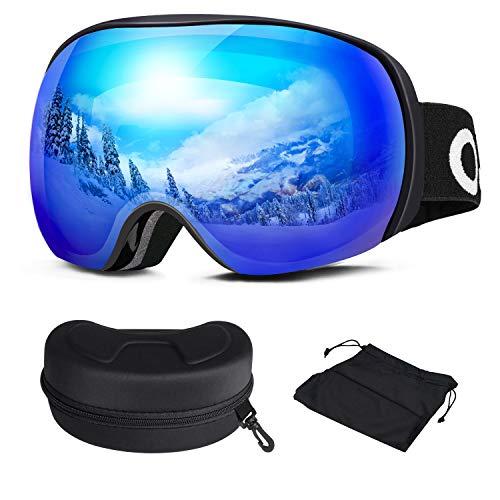 Oladwolf Skibrille, Herren und Damen Brillenträger Ski Snowboard Brille, Doppel-Objektiv Verspiegelt Skibrillen, OTG UV-Schutz Anti-Fog Helmkompatible Goggles Für Männer, Frauen, Jungen und Mädchen -