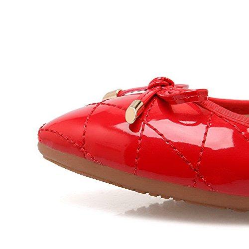 AalarDom Damen Pu Leder Rein Weiches Material Ziehen Auf Spitz Zehe Flache Schuhe Rot-Knoten