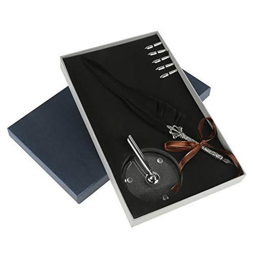 akozon Antiguo DIP Pen Caligrafía Quill Muelle, 6puntas de metal + Pen Nib plana, antigüedad...