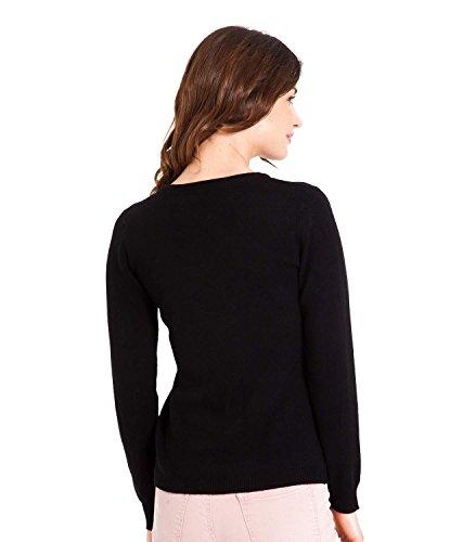 WoolOvers Pull à col V - Femme - Cachemire & Mérinos Black