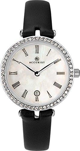 Accurist Femme montre à quartz avec cadran blanc analogique et bracelet en cuir noir 8226