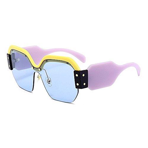 XHCP Frauen Polarisierte Klassische Pilotenbrille, Personality Bunte Sonnenbrille Für Frauen Große Mädchen Halbrandlose Sonnenbrille Klassisch Übergroßes Quadrat Trendy Damensonnenbrille Sonnenbr