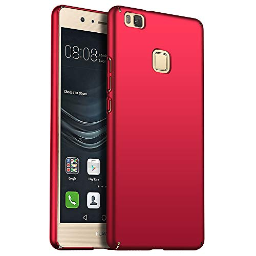 for Huawei P9 Lite Hülle, ZUERCONG [Matte Serie] Ultra Dünn Slim Cover Case Anti-Fingerabdrücke Shockproof Handytasche Hartplastik Schutzhülle für Huawei P9 Lite, Glattes Rot