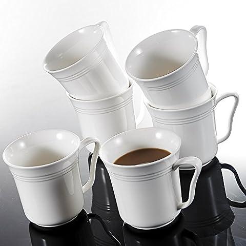 Malacasa, Series Mario, 6-Piece 12.5 OZ Ivory White Porcelain Cups China Ceramic Cream White Mugs(Set (Cina Tazze Set)