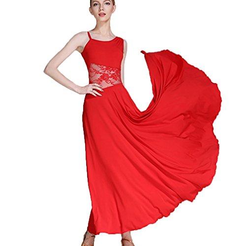 Rongg Moderne Tanzkleider Übe Kostüm Für Frauen Schrägkragen Schnüren Hohl Walzer Ballsaal Tanzkleider Ärmellos, Red, - Zeitgenössische Kostüm Unitard