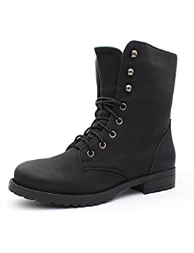 best-boots Damen Stiefelette Schnürer Boots Stiefel