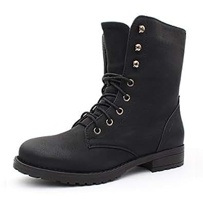 Best-Boots - Bottines À Lacets Femme - Boots - Couleur : Noir - Taille : 36