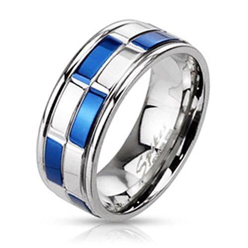 Paula & Fritz anello in acciaio INOX chirurgico 316L Band argento, Blu Scacchiera modello disponibile anello (15) - 47 misure 69 (22) R-M2184, Acciaio inossidabile, 20, cod. R-M2184-9