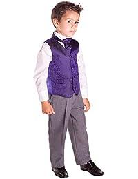 Página Boy traje, traje de chaleco, traje de boda, niños Formal traje, gris pantalones