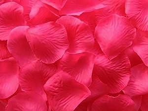 Shatchi 11617-ROSE-PETALS-DARK-PINK-1000 1000 Confeti de pétalos de rosa rosa para cumpleaños, aniversario, boda, bautizo, Día de la Madre, fiesta, decoración de mesa, suelo, habitación a granel