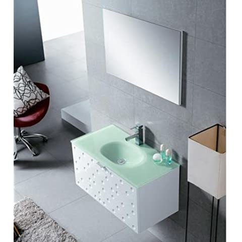bathkitchens–Mobile da bagno, lavabo e specchio modello Versailles senza morsetto