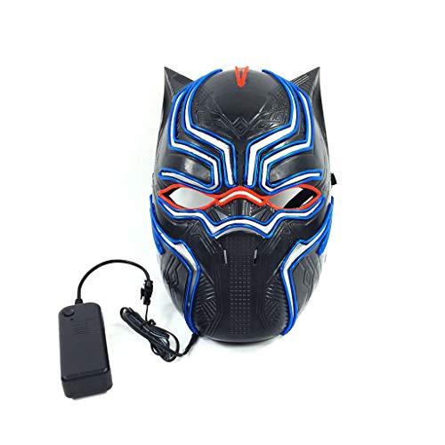 Black Panther Halloween Glowing Mask, 3 Arten Von Flash-Modus EL Kaltes Licht Maske FüR Weihnachten Karneval KostüM Cosplay Domino (Domino's Kostüm)