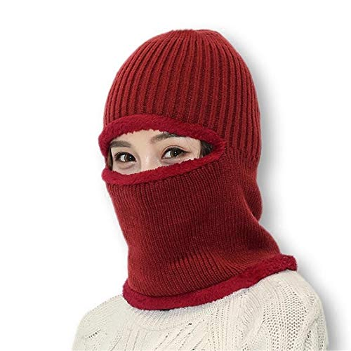 LBWNB Winter Windproof Flannel Balaclava Hut-Outdoor Cycling Skiing Thermal Warm Fleece Veil Windproof Full Face Maske Kopfbedeckung für Herren und Damen,Red