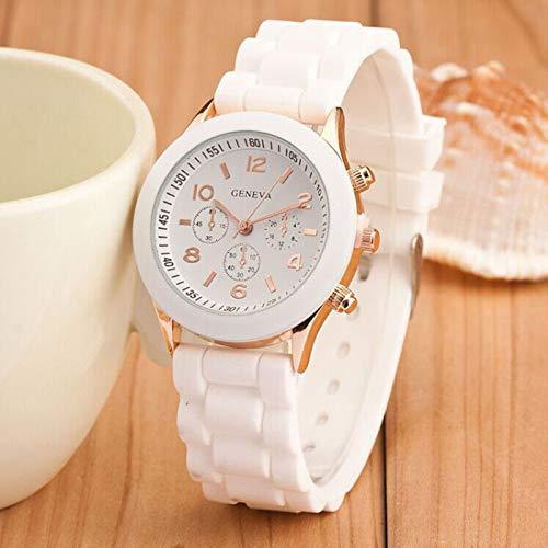 ,Frauen Sport Uhren,Armbanduhr mit DREI Kleinem Zifferblatt,Damen Uhr mit Silikon Armband mit 24CM Bandlänge, Candy Farben (Weiß) ()