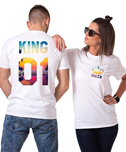 et für Paar Partnerlook Pärchen Shirts Partner T Shirt (Weiß - Tropic, King-M+Queen-S) ()