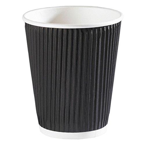 Isolierte 16oz Ripple Wall Getränke heiß Einweg Tee Kaffee Becher, Black, Black Lids, 453,6 g (16 oz) (Einweg 16 Oz Kaffee-becher)