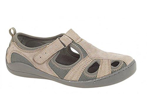 Boulevard Women's Touch Fastening Sandal Beige / Grey