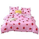 Stillshine Bettwäsche Set Erdbeere Kaktus Muster Bettbezug und Kissenbezug 3 Teiliges 100% Polyesterfaser (Erdbeer-Rosa, 200 x 200 cm)