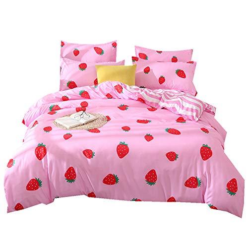 Stillshine Bettwäsche Set Erdbeere Kaktus Muster Bettbezug und Kissenbezug 3 Teiliges 100{b52a53fe90a47b550660c1c145a89c7573e645daed57501bdc4032d5db4f5872} Polyesterfaser (Erdbeer-Rosa, 200 x 200 cm)