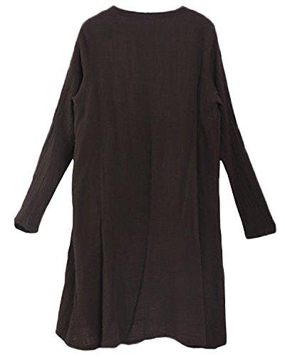 ZANZEA Vintage Femme Tops Hauts Large Linge Casual Chemise ¨¤ Manches Longues Bouton Top + Maxi Jupe Marron (Top)