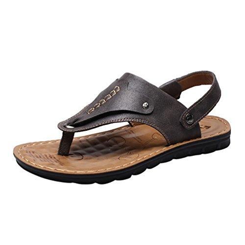 Chenyang pu pelle accogliente moda flip-flop infradito sandali uomo grigio 41