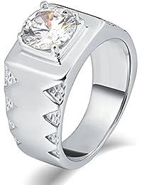 Aooaz Gioielli anello fascia anello acciaio uomo ipoallergenico CZ ondulato laterale anello gotico anelli fidanzamento anello biker