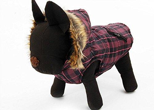 XUJW-PET, Haustier-britischer purpurroter Mantel-wasserdichte Vlies-Haustier-Hunde-Kleidung-weicher gemütlicher im Freien Winter gepolsterte Weste-Mantel-Jacke für Hunde ( Size : L ) (Schwarz-check-fleece-jacke)