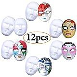 Weiße Maske, Outgeek 12 Stücke Unbemalt Maskerade Weiß Maske DIY Dekoration Venezianischen Karneval Halloween Cosplay Kostüm Handgemalte Kreative Design Maske für Männer Frauen