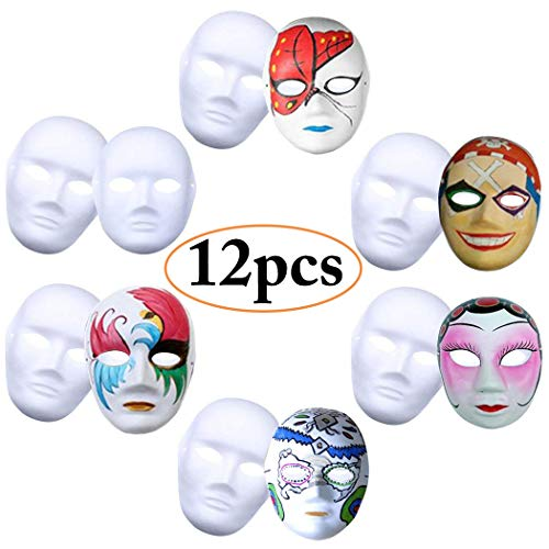 Handgemachte Kreative Kostüm - Weiße Maske, Outgeek 12 Stücke Unbemalt Maskerade Weiß Maske DIY Dekoration Venezianischen Karneval Halloween Cosplay Kostüm Handgemalte Kreative Design Maske für Männer Frauen