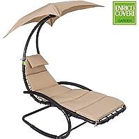 Enrico Coveri Garden Dondolo da Giardino Sospeso con Parasole Poltrona Sofà Amaca Relax Lounge Bed Beige Chiaro
