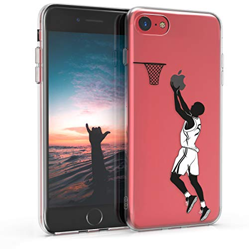 kwmobile Apple iPhone 7/8 Hülle - Handyhülle für Apple iPhone 7/8 - Handy Case in Sport Basketball Design Schwarz Weiß Transparent