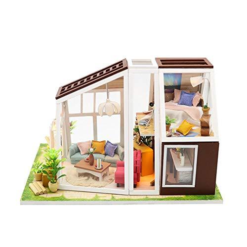 perpetualu DIY Dollhouse, DIY Cottage aus Holz manuelle Montage Dekoration Aurora Hut Miniatur 3D Gewächshaus Craft Kit, Urlaub Geburtstagsgeschenk -