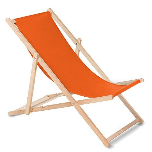 GreenBlue - Transat classique en bois de hêtre - Multicolore - Idéal pour l'été, Orange