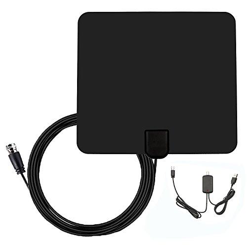 Antena de TV, YouFu Antena Interior HDTV DVB-T Mayor Rango de Recepción de 50 KM, 4m de Cables de Alto Rendimiento, Amplificador de Señal Removable, Duraderos y Resistentes, Incluso en Condiciones Climáticas Extremas, Negro
