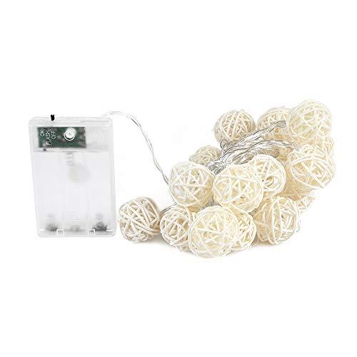 2 m 20 LEDs sepaktakrau Lichterketten Batteriebetriebene Rattan-Kugelkette String Fairy Light Weihnachtsschmuck Licht, B