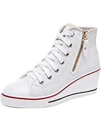 Wealsex Mujer Cuñas Zapatos De Lona Zapatos Casuales Encaje Hebilla Cremallera Lateral Talla Grande 35-43