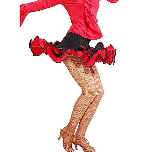 tüm Für Frauen Bauchtanz Outfit Rock Kleid Schwarz Rot Latein Tanz Kleid Rock Kostüm Body Kurzen Rock Schwarz Performance Kostüm (Tango Tänzer Halloween Kostüm)