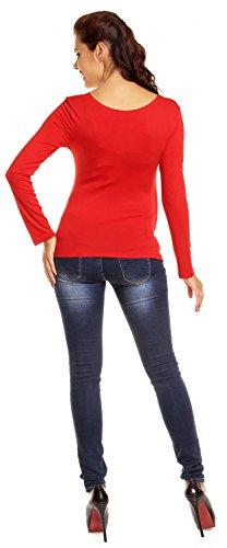 Zeta Ville - Femme Maternité Top jersey de grossesse - Haut extensible - 947c Rouge