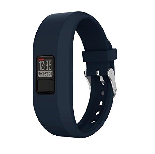 Reloj Correa para Garmin Vivofit 3, vneirw hombre mujer durabilidad colorido silicona ajustable Watch Reemplazo Banda Correa de reloj inteligente banda pulsera de muñeca de la pulsera con cierre de hebilla de acero inoxidable, color azul marino